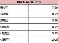 比亚迪G5动感上市 售价7.59-10.29万元