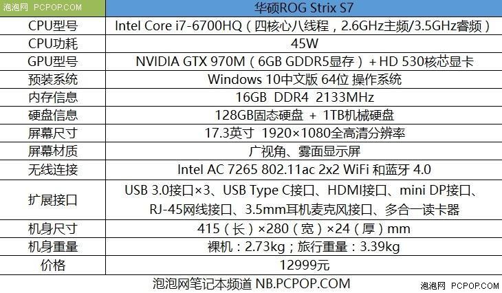 更轻薄更炫酷 华硕ROG Strix S7游戏本评测