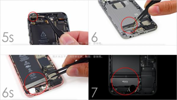 对比一下 iPhone 6、iPhone 6s和 iPhone 7 上的 Taptic Engine 零件,你会发现它的体积增大趋势很明显。所起的作用也越来越大,越来越重要。从技术上将,Taptic Engine 所采用的线性振动马达,与一般手机上的振动马达是不同的技术(包括 iPhone 5s 以及之前的苹果手机)。   得益于 Taptic Engine 所带来的触觉反馈。之前不能按压的 Apple Watch 和 iPhone 屏幕,可以按压了;也让之前能按压的电脑触摸板和手机 Home 按钮