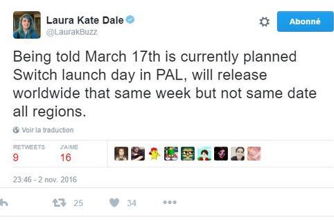 传闻:任天堂Switch发售日为3月17日