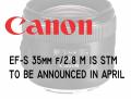 4月5日发布! 佳能将推出全新35mm微距镜头