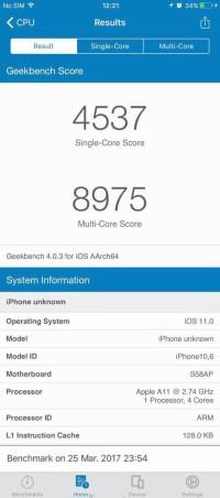 A11加持,性能暴涨! 疑似iPhone 8跑分数据曝光