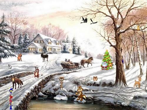 还有很多的小动物,以及远处盖满积雪的小木屋,构成了一副多彩的冬日