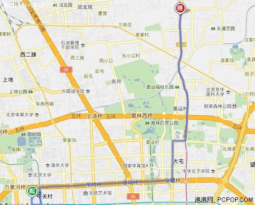 百度地图,规划的行驶道路
