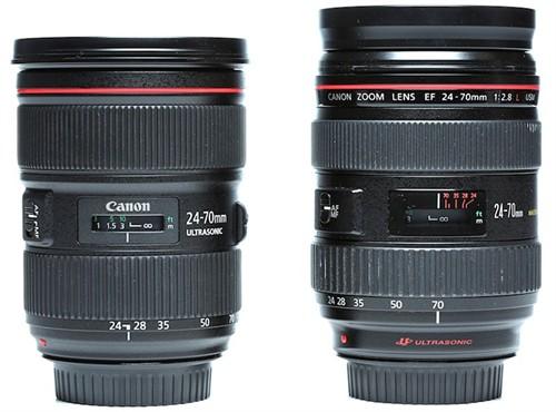 佳能24-70两代镜头外观和分辨率对比