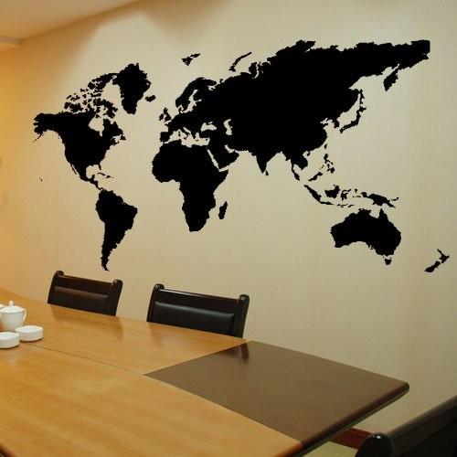 简洁商务范!世界地图黑白墙纸