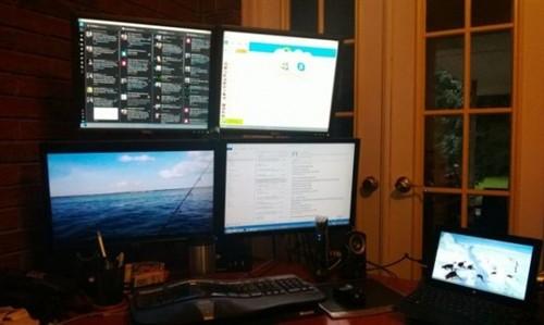 牛人将Surface Pro打造成四屏工作站