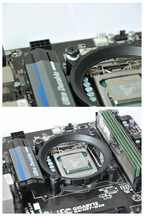然后将支架安装在主板上,最后插入支架销钉来固定支架.