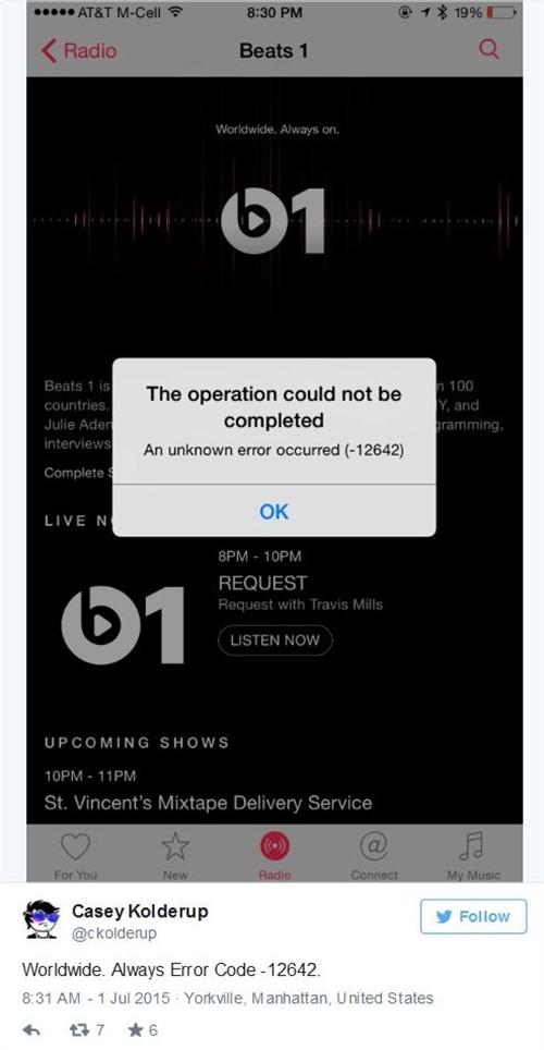 Beats 1首发日突然掉线半小时