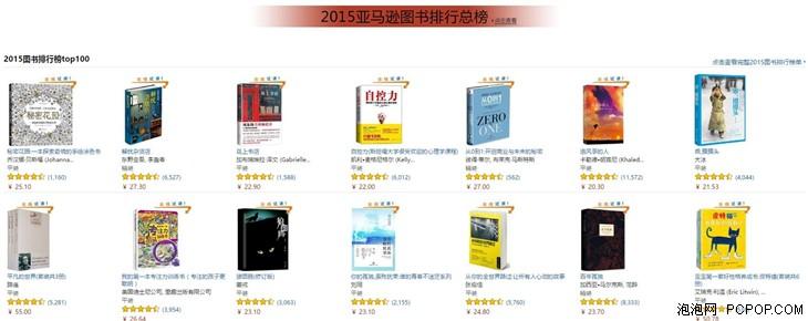 亚马逊中国发布2015图书排行榜及畅销作家榜