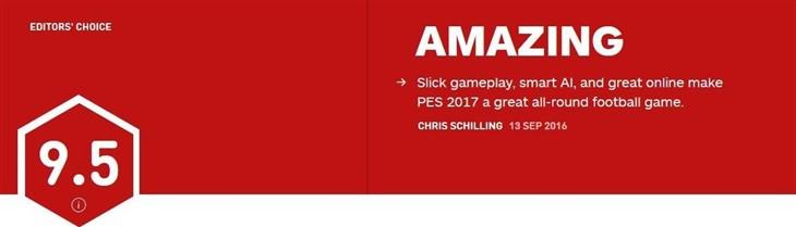 《实况足球2017》IGN 9.5分:最强足球游戏