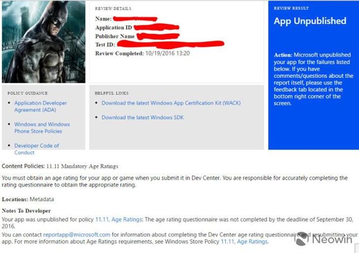 微软移除Windows Store未部署新评级的应用
