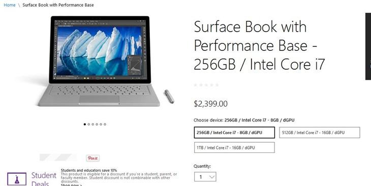 微软美国开售新Surface Book 2399美元起