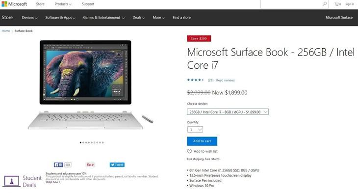 美版Core i7版Surface Book全系大降价