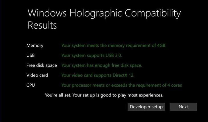 微软公布Windows 10 VR头显最低PC配置要求