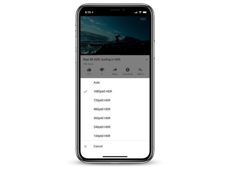 小范围更新 Youtube加入对iPhone X的HDR视频支持