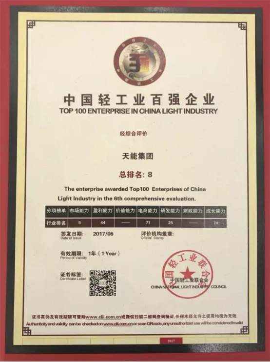中国轻工业百强榜单出炉!天能集团综合排名第8,市场能力第5