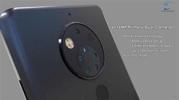 诺基亚10渲染图曝光 后置五摄像头霸气十足