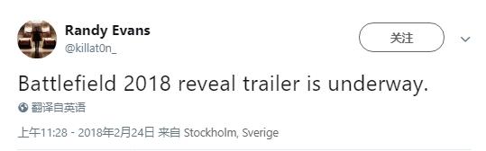 DICE媒体总监确认:《战地》新作预告马上亮相