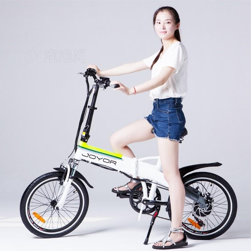 九悦z1 白色电动折叠自行车变速电动车锂电池助力电动车电瓶车电动