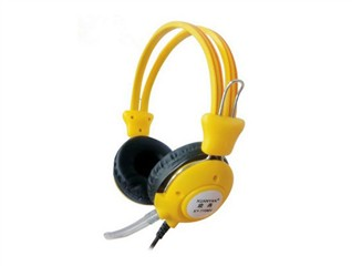 旋燕XY-110MV游戏耳机 电脑耳机 时尚耳机抗暴力 PU线耳麦 纯音乐耳壳调音耳麦(黄色)
