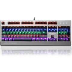 腹灵TT104 混光版背光104键游戏机械键盘 银色合金面板黑轴黑键