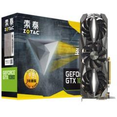 索泰GeForce GTX1080-8GD5X至尊PLUS OC 1721-1860MHz/10110MHz 8G/256bit GDDR5X PCI-E显卡