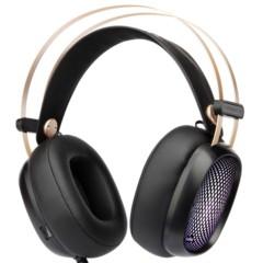第一印象G20高保真头戴式监听级电竞游戏耳机 有麦带七彩灯光 黑色