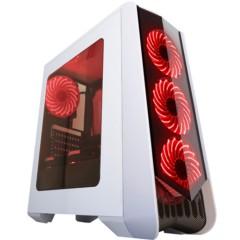 撒哈拉走线大师GF6 透视厚板材游戏机箱 白色(大侧透/分体式五金/支持ATX大板)