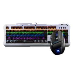 狼蛛暴风斩套装混光 有线键鼠套装 USB键盘鼠标 机械黑轴 银黑版
