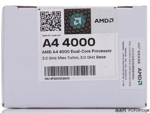 AMDAPU系列双核 A4-4000 盒装CPU(Socket FM2/3.0GHz/1M缓存/HD7480D/65W)CPU