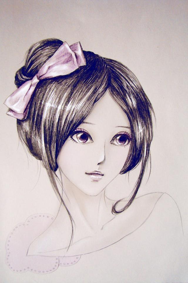 美女插画手绘壁纸